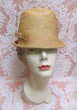 Vtg 1960s Schiaparelli Milan Straw Dome Bucket Cloche Hat w/Box