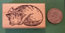 Sleeping Cat Rubber Stamp, Wood Mounted