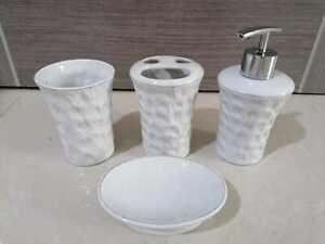 4Pc Ceramic Bathroom Accessory Set Soap Dish Dispenser Toothbrush Holder - White