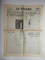 N820 La Une Du Journal Le Figaro 15 mai 1948 Paris accueilli Elizabeth