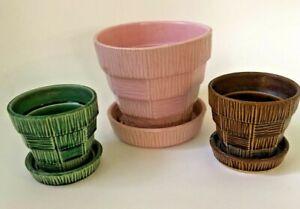 Lot Of 3 McCoy Pottery Basket Weave Flower Pots w/Saucers Green Brown & Pink