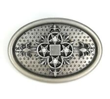 Vintage Silver Alloy Crystal Star Cross Western Belt Buckle FREE GIFT BOX