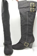 Naughty Monkey Dark Brown Leather Fashion Casual Dress Knee Wedge Boots Size 10