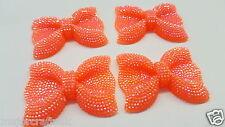 2pcs Bright Orange AB 54mm Large Flat Back Chunky Rhinestone Bows Cabochons C18