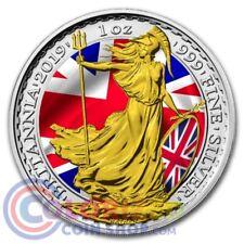 2019 1 oz UK Silver Britannia Patriotic Flag Colorized BOX & COA