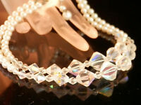 XXX Pretty Vintage 50's AB Crystal Faux Pearl 2 Strand Necklace 34JL5
