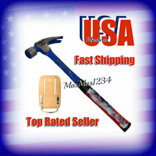 VAUGHAN 22 oz. Milled Face Steel Claw Hammer Leather Holder R404ML Steel Eagle