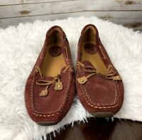 Clarks womens driving Loafers shoes suede 8 M burgundy tan leather slip on