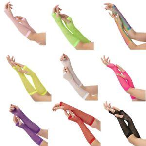 Neon Long Fishnet Gloves Fingerless Gloves Fancy Dress Party Gloves Halloween