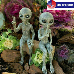Funny Alien Garden Resin Statue Art Outer Space Extraterrestrial Ornaments USA