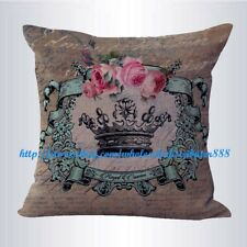 US SELLER- home goods throw pillows shabby chic crown rose cushion cover