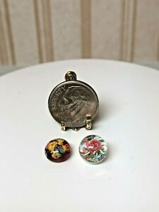 Dollhouse Miniature Artisan Pair of Floral Glass Paper Weights 1:12