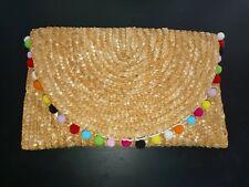Bermuda Beauty Craft Raffia Pom Straw Wicker Clutch Bag