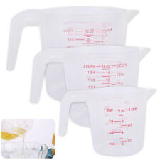 3X Stacking Measuring Cups Plastic For Baking Flour Sugar Water Kitchen Tool Set