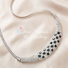 18K White Gold GP Made With Swarovski Crystal Square Sapphire Collar Necklace