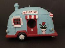 Retro Camper Trailer Birdhouse Camping RV Cart Pull Along Resin