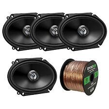 """4 JVC 6x8"""" Car 2-Way 300W Stereo Coaxial Speakers, 50FT 16 Gauge Speaker Wire"""