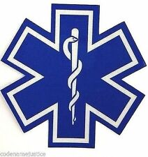 "STAR OF LIFE - 6"" x 6"" Highly REFLECTIVE Ambulance Star of Life Decal - EMS"