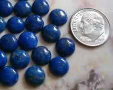 1 Natural Afghanistan lapis lazuli high dome flat back cabochon 8mm round cb005