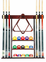 Cue Rack Only- 6 Pool Billiard Stick Wall Rack Holder Mahogany Scratch +  Dent