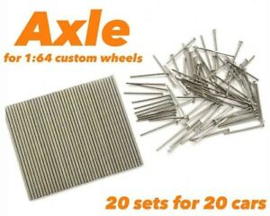 1:64 Adjustable Long Axle and Pin for custom Hot Wheels rims - 20 sets