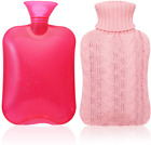 Samply Transparent Hot Water Bottle- 2 Liter Water Bag with Knitted Cover, Pink