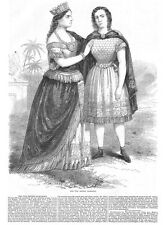 THEATRE The Two Sisters Marachisio - Antique Print 1860