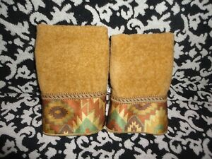 AVANTI TUCKER SOUTHWESTERN NUTMEG GOLD BRAID SATIN (2) FINGERTIP TOWELS 12 X 18