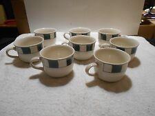 8 Cups WBACH Stoneware Green Checks Pattern Japan Green Squares Off White