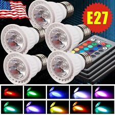 5 Pcs E27 3W RGB Multi Color LED 16 Color Changing Lamp Light+ IR Remote Control