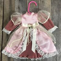Antique/ Vintage Two-Toned Pink Victorian Doll Dress, 11 Inches