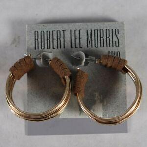 Robert Lee Morris Soho Gold Tone Medium Suede-Wrapped Hoop Earrings $38 New