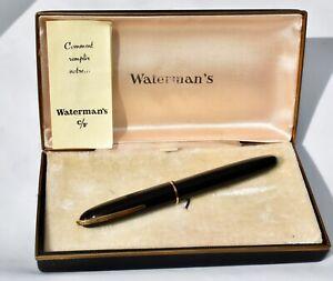 Boxed Vintage WATERMAN'S C/F Streamline Fountain Pen 18 Carat Nib