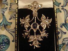 Hermoso Antiguo Art Nouveau plata conjunto de piedras preciosas; Zafiro Vestido Clip/Broche