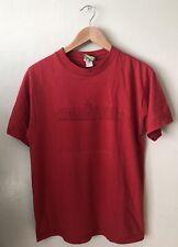 VTG 90s Ambiguous Red Logo Crew Neck Skate Shirt Size M USA FABRIC