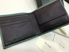 Paul Smith Wallet Coin Pouch 4x CCARD Peppermint Green Handcrafted in Spain