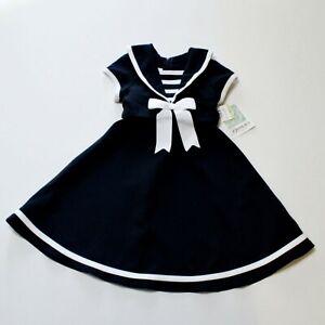 Bonnie Jean Girl's Sailor Dress Size 4 4T Navy Blue White