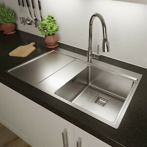 Säuber Single Bowl Square Inset Stainless Steel Kitchen Sink Left Hand Drainer
