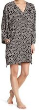 NWT N Natori Black/Taupe PALACE MAZE Geo Pattern Caftan/Nightgown S POCKETS