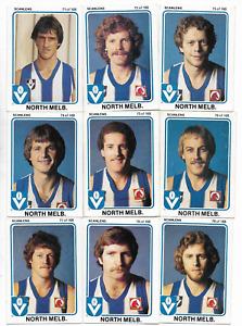 1981 Scanlens NORTH MELBOURNE Team Set (14 Cards)
