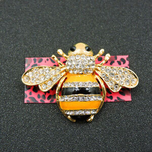 Betsey Johnson Yellow Crystal Enamel Exquisite Honeybee Charm Brooch Pin