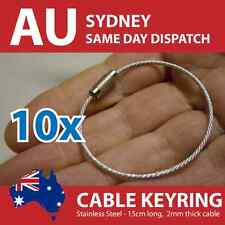 Stainless Steel Cable Wire Key Ring Keyring (150mm x 2mm) (Pack of 10)