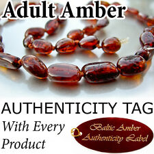 Rare OVAL Cherry (Oval beads) Certified Baltic Amber ADULT NECKLACE
