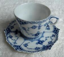 Royal Copenhagen Denmark BLUE FLUTED FULL LACE fine china cup & saucer set-NR