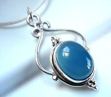 Chalcedony Beautifully Accented Cabochon 925 Sterling Silver Necklace