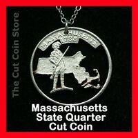 Massachusetts Cut Coin Pendant Necklace Quarter