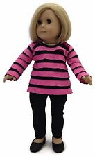 """Pink & Black Ruffled Top & Leggings made to fit 18"""" American Girl Doll Clothes"""