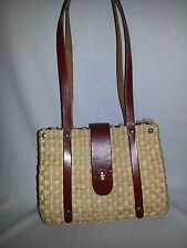 Vintage Retro Woven Straw Reed Natural Grass Shoulder Bag Handbag Leather Straps