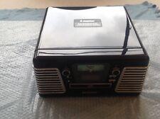 Black Steepletone Record Player Roxy 3CD (Radio, CD and Vinyl)