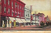 BRIDGETON NJ~SOUTH LAUREL ST~TROLLEY-STOREFRONTS~PINE & WHITAKER 1908 POSTCARD